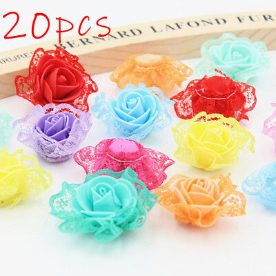 3D Chiffon Organza Flower DIY Rose Lace Trim Embroidered Applique Sewing Decor