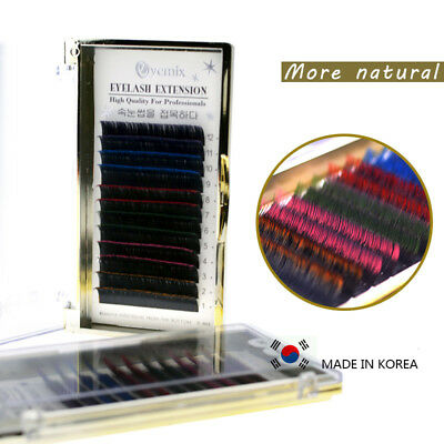 Individual Multi-Colored Eyelash Extens Ombre 4 Color Mixed Lashes 0.15mm C Curl