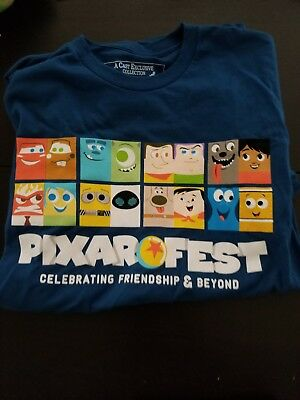 Disneyland Disney Cast Member Pixar Fest Pier T-Shirt NAVY Medium New Coco Up