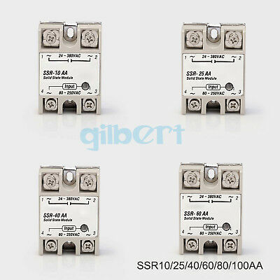SSR Single-phase Solid State Relay 10-100A AC-AC Input 80-280VAC Load 24-380VAC