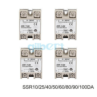 SSR Single-phase Solid State Relay 10-100A DC-AC Input 3-32VDC Load 24-380VAC