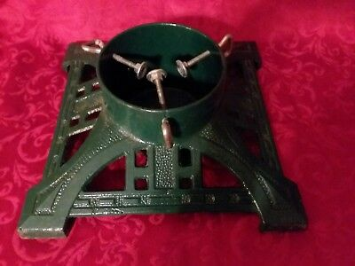 """Cast Iron Christmas Tree Stand Heavy Green 14""""x14 VTG Ornate VERY GOOD CONDITION"""