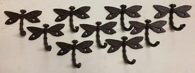 SET of 9 ARTISTIC DRAGONFLY HOOKS brown bronze finish cast iron coat robe hooks