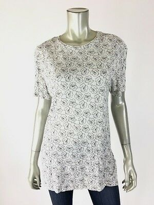 All Saints Shirt S White Black & Gray Floral Stretch Knit T Tee Top Small