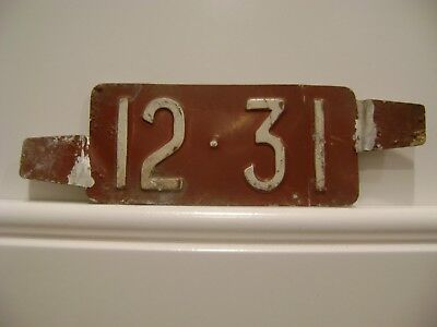 Original Vintage Red 12-31 Delaware License Plate Date Insert Tag Antique Car