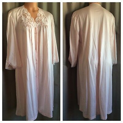 """VTG 80's-90's COLLECTIBLES BY JC PENNEY Shiny Pink Nylon Antron III Robe 40""""/L"""