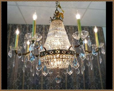 Vintage Antique French Empire Basket Chandelier 1034 Spectacular Crystals WOW!