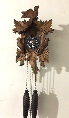 Nice Vintage 8 Day Weight Driven Black Forest Hand Carved Cuckoo Clock-Working!
