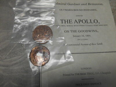 (2) 1808 East India Company X Cash Admiral Gardner Shipwreck Treasure Coin