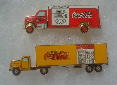 2 Coca Cola Olympic Semi Truck Pins ~ Los Angeles 1984 & Mexico 1968
