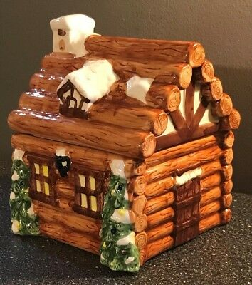 Vintage Rare Snowy Log Cabin Cookie Jar Holiday Christmas Themed New Never Used
