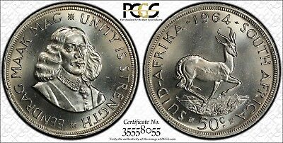1964 South Africa Silver 50 Cents PCGS PL65