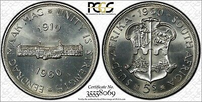 1960 South Africa Silver 5 Shillings PCGS MS63