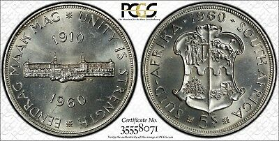 1960 South Africa Silver 5 Shillings PCGS PL65
