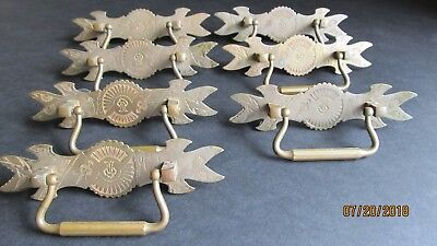 Vintage antique victorian eastlake brass drawer pulls chest 8 total