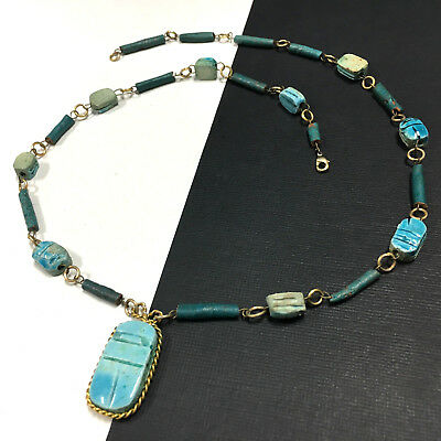 Egyptian Revival Blue Faience Stone Carved Scarab & Gold Bead Necklace H148J
