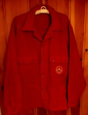 Vtg BSA, Boy Scout Red Jacket, Sz 46, 100%Wool, Lg Order Of The Arrow Patch, VGC