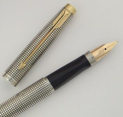 Parker 75 Fountain Pen, First Year With Flat Tassies, Metal Threads