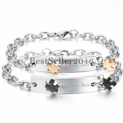 His & Hers Promise ID Puzzle Stainless Steel Bangle Bracelet only love Engraved