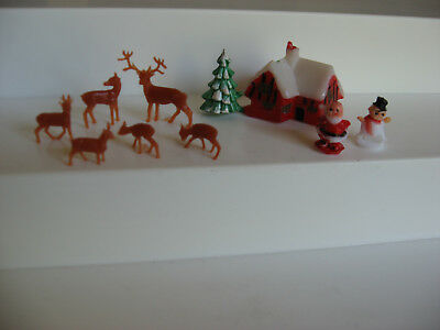 Vintage miniature plastic Christmas figures Santa snowman deer craft decoration