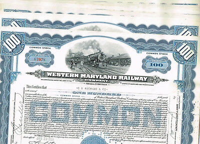 Set 8 Western Maryland Railway Co., 1950s, blue, VF+, tax-stamps
