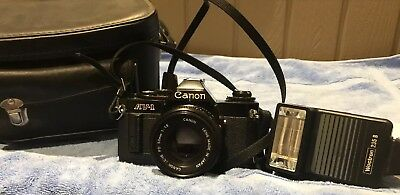 Vintage Camera Av-1 Canon 50mm Lens Woctron 235 B Flash