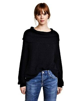 Free People By Your Side Sweater Black Womens Size S Small New 128