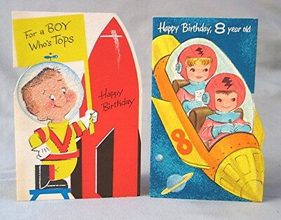 2 Vintage Space Themed Little Boy Birthday Cards 650 Picclick