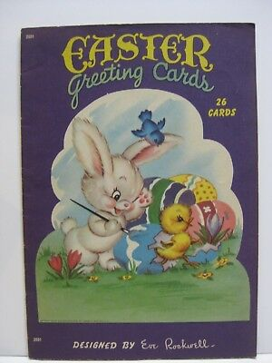 Vtg 1947 Saalfield Eve Rockwell 26 Easter Greeting Cards Oversize **LAST CHANCE*