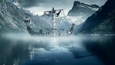 Viking Boat in misty Fjord Snow Mountains Large Flag banner wall hanging  Decor
