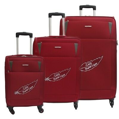 Compass Pluto 4 Wheel Suitcases Set of 3 55cm 66cm 77cm Red