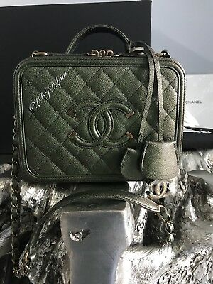 467ebb3a3278 Nwt Chanel Iridescent Green Vanity Case Caviar Filigree 18B 2018 Gold  Metallic