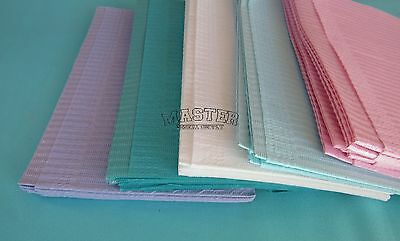 "100 Disposable Patient Bibs ASSORTED Dental Tattoo Medical Spa 2+1 Ply 13"" x 18"""