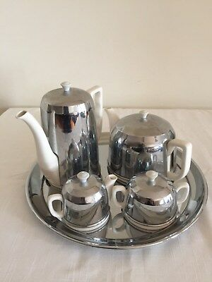 Vintage Coffee and Tea Pots with Insulated Covers, Milk Jug and Sugar Bowl