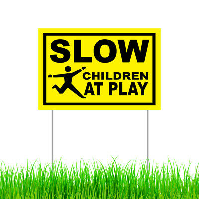 Slow Children At Play Yard Sign, Outdoor Garden Lawn Decor Warning Sign