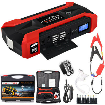 4 USB Car Jump Starter Pack Booster Charger Battery Power 82800mAh Ban Portable