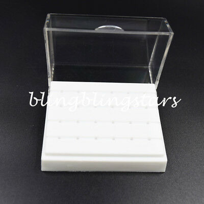 24 Holes Dental Burs Drill Holder Stand Block Disinfection Case Plastic White