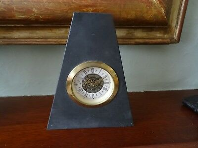 "Vintage Mercedes 6"" Welsh Slate Pyramid Clock, With West German Wind Up Movement"