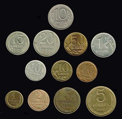 RUSSIA:-selection of 12 different Communist & post communist era coins. AP6818