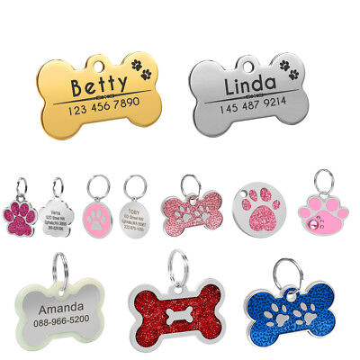 Dog Tag Personalised Engraved Custom Pet Tags for Collar Bone Paw Round Glitter