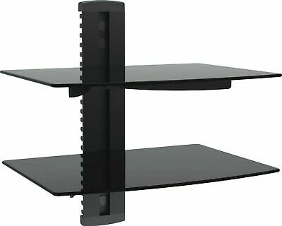 2 Tiers Wall Mount  Floating Black Glass Bracket For Xbox PS4 Sky TV DVD Shelves
