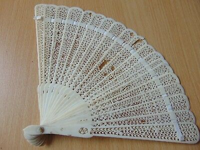Antique 19th Century Chinese carved Brise Cattle Bovine Bone Hand Fan 7.75""