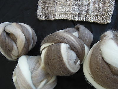 Wool 'Feathering' NATPAK 200gm West Aust.natural.col.Tops Roving  Spin Dye Felt