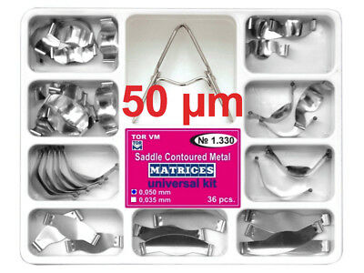 Dental Saddle Contoured Metal Matrices Matrix 36 pcs with Springclip TOR VM 50mk