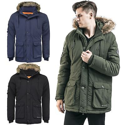 2a63c1e1efe8 Crosshatch Mens Heavy Weight Fur Hood Jacket Parka Padded Waterproof Winter  Coat