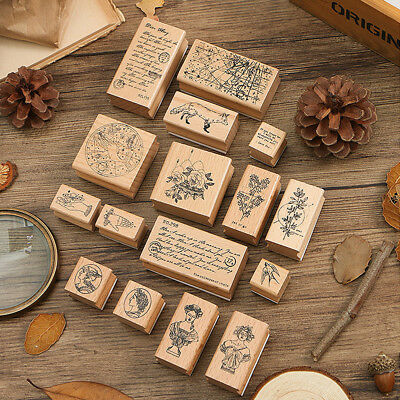 Vintage Plant Wood Rubber Mounted Rubber Stamps DIY Card Making Crafts Stamp New