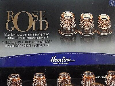 Hemline Quality Rose Gold Pitted Cup Tailors Thimble Sewing Quilting 3 Sizes Sew