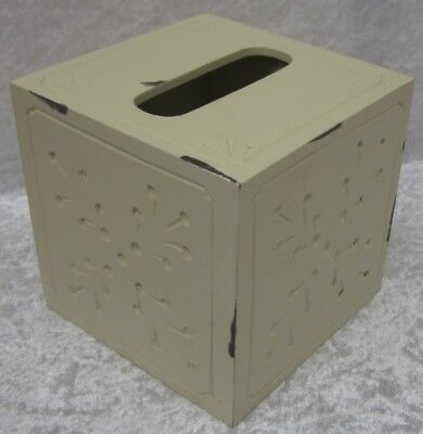 Rustic Wooden Tissue Box Country French Provincial Style Distressed Cream Finish