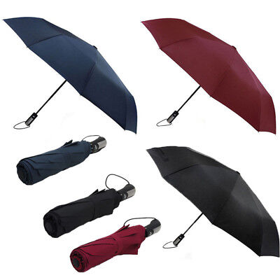 Automatic Folding Umbrella Windproof Compact With 10 Fiberglass Frames DM