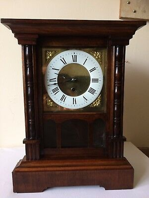 H.a.c Wooden German Mantle Clock Refurbished Case And Fully Serviced Fine Clock